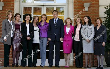 Spanish Prime Minister Jose Luis Rodriguez Zapatero Poses with His Women Ministers in the Moncloa Palace Madrid Central Spain 14 April 2008 (l-r) Cristina Garmendia Science and Innovation Minister; Magdalena Alvarez Public Works and Infrastructure Minister; Mercedes Cabrera Education Social and Sports Minister; Carme Chacon Defence Minister; Maria Teresa Fernandez De La Vega Maria Teresa Fernandez De La Vega First Vice-president and Presidency Minister; Elena Salgado Civil Service Minister; Bibiana Aido Equality Minister; Beatriz Corredor Housing Minister and Elena Espinosa Environment Minister Spain Madrid
