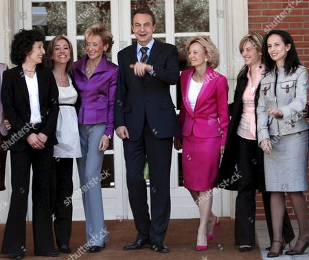 Spanish Prime Minister Jose Luis Rodriguez Zapatero Poses with Some of His Women Ministers in Moncloa Palace Madrid Central Spain 14 April 2008 (l-r) Mercedes Cabrera Education Social and Sports Minister; Carme Chacon Defence Minister; Maria Teresa Fernandez De La Vega First Vice-president and Presidency Minister; Elena Salgado Civil Service Minister; Bibiana Aido Equality Minister and Beatriz Corredor Housing Minister Epa/sergio Barrenechea Spain Madrid