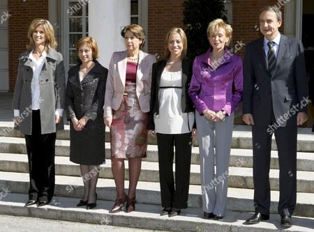 Spanish Prime Minister Jose Luis Rodriguez Zapatero Poses with Some of His Women Ministers After Their First Cabinet Meeting in Moncloa Palace Madrid Central Spain 14 April 2008 (l-r) Cristina Garmendia Science and Innovation Minister; Elena Espinosa Environment Minister; Magdalena Alvarez Public Works and Infrastructure Minister; Carme Chacon Defence Minister and Maria Teresa Fernandez De La Vega First Vice-president and Presidency Minister Spain Madrid