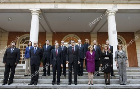 Spanish Primer Minister Jose Luis Rodriguez Zapatero (4-l Front) Poses with the Members of His Cabinet For the Traditional Family Photo After the Government Reshuffle Announced on 20 October 2010 Outside La Zarzuela Palace the Spanish Prime Minister's Official Residence Shortly Before They Attended a Cabinet Meeting on 05 November 2010 in Madrid Spain From L-r Front Spanish Justice Minister Francisco Caamano; Third Deputy Prime Minister Manuel Chaves; Home Minister and New First Deputy Prime Minister Alfredo Perez Rubalcaba; Primer Minister Jose Luis Rodriguez Zapatero; Economy Minister and Second Deputy Prime Minister Elena Salgado; New Foreign Affairs Minister Trinidad Jimenez and Defense Minister Came Chacon From L-r 2nd Row New Enviroment Agriculture and Fishing Minister Rosa Aguilar; New Labour Minister Valeriano Gomez; Public Works Minister Jose Blanco; Education Minister Angel Gabilondo; Industry Minister Miguel Sebastian and New Presidency Minister Ramon Jauregui (l-r 3rd Row) New Health Minister Leire Pajin; Culture Minister Angeles Gonzalez-sinde and Science and Innovation Minister Cristina Garmendia Epa/fernando Alvarado Spain Madrid