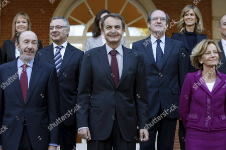 Spanish Primer Minister Jose Luis Rodriguez Zapatero (4-l Front) Poses with the Members of His Cabinet For the Traditional Family Photo After the Government Reshuffle Announced on 20 October 2010 Outside La Zarzuela Palace the Spanish Prime Minister's Official Residence Shortly Before They Attended a Cabinet Meeting on 05 November 2010 in Madrid Spain From L-r Front Home Minister and New First Deputy Prime Minister Alfredo Perez Rubalcaba; Primer Minister Jose Luis Rodriguez Zapatero and Economy Minister and Second Deputy Prime Minister Elena Salgado From L-r 2nd Row Public Works Minister Jose Blanco; and Education Minister Angel Gabilondo From L-r 3rd Row New Health Minister Leire Pajin; Culture Minister Angeles Gonzalez-sinde (unseen) and Science and Innovation Minister Cristina Garmendia Spain Madrid