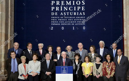 The President of the Jury of the 2010 Prince of Asturias Award For Letters Victor Garcia De La Concha (front C) Announces the French-lebanese Writer Amin Maalouf As the Winner of the 2010 Prince of Asturias Prize For Letters in Oviedo Province of Asturias Northern Spain 09 June 2010 the Prince of Asturias is One of the Most Important Prizes in Spain and It Aknowledges 'Scientific Technical Cultural Social and Humanistic Work Performed by Individuals Institutions Groups of Individuals Or Institutions at an International Level ' in This Case Maalouf was Recognised For His Significant Contribution to Universal Culture in the Field of Literature and Linguistics Spain Oviedo