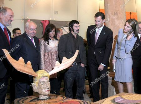 Spanish Crown Prince Felipe (2-r) His Wife Letizia (r) and Asturias President Vicente Alvarez Areces (2-l) Attend the Inauguration of the Exhibition 'Crosses of Art' in Oviedo Spain 22 October 2008 on 24 October the Prince of Asturias Award Ceremony Will Be Held at the Campoamor Theatre in Oviedo Spain Oviedo
