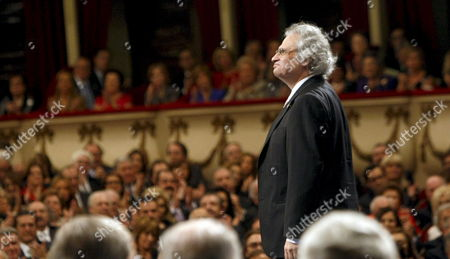 Lebanese Writer Amin Maalouf Onstage After Receiving the Prince of Asturias Prize 2010 For Letters During 2010 Prince of Asturias Awards Ceremony at the Campoamor Theater in Oviedo Spain 22 October 2010 Spain Oviedo
