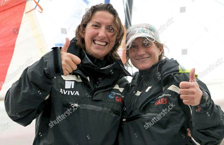 British Competitor Dee Caffari (l) and Spaniard Anna Corbella (r) of the Ship Gaes Crew Pose For Photographers Before the Start of the 2nd Barcelona World Race Regatta in the Port of Barcelona Northeastern Spain 31 December 2010 the Fourteen Yachts Which Compete in the Non-stop Double-handed (two-crew) Regatta Around the World Will Have to Cover 225 000 Nautical Miles Along the Great Circle Line For at Least 90 Days Spain Barcelona
