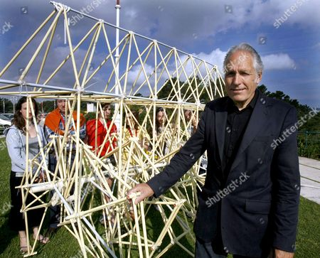 Dutch Artist Theo Jansen Poses with One of His Kinetic Sculptures in Santander City Spain 19 June 2008 Jansen is in Spain to Give a Summer Course at the Universidad Internacional Menendez Pelayo (uimp) Spain Santander