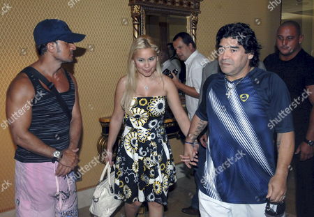 Argentina's Former Soccer Star Diego Armando Maradona (r) and Girlfriend Veronica Ojeda Seen After a Press Conference Held on 04 September 2008 in Marbella Malaga Andalusia Southern Spain Maradona Will Attend a Tennis Exhibition Between Argentina's Guillermo Canas and Jose Acasuso and Spain's Juan Carlos Ferrero and Carlos Moya to Be Played in Marbella Next Weekend Spain Marbella