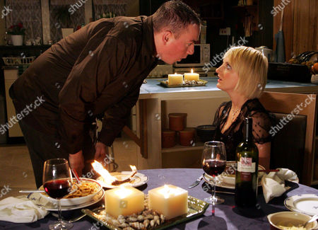 'Emmerdale'   TV   2006 Pictured: Simon Meredith (Dale Meeks) lets his pride get the better of him when he burns a check from Rodney to help him and Nicola Blackstock (Nicola Wheeler) with their money problems.
