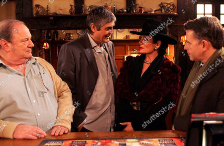 'Emmerdale'   TV   2006 Pictured: Terrence Turner (Nick Bramble) takes great delight in telling Steph Stokes (Lorraine Chase) that he will be moving in with Turner (Richard Thorp) so they can all live as a 'happy family'. Adam Forsythe  (Richard Shelton) worries for Steph.