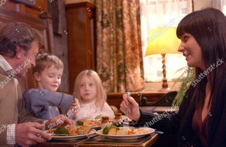 'Emmerdale'   TV   2006 Pictured: Chastity Dingle (Lucy Pargeter) is delighted when Tom King (Ken Farrington) congratulates her on the way she is with Carl's kids.