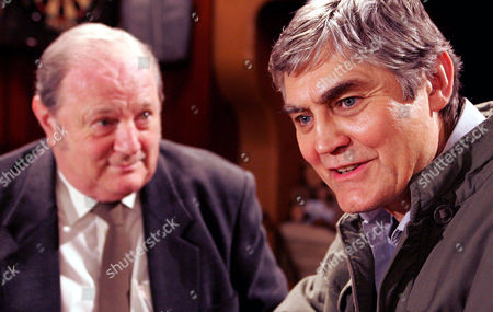 'Emmerdale'   TV   2006 Pictured: Terrence Turner's (Nick Brimble) plans seem to be working when Turner (Richard Thorp) agrees to pay off his debts.