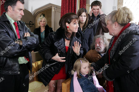 'Emmerdale'   TV   2006 Pictured: The wedding rehearsal doesn't go according to plan when Viv Hope (Deena Payne) loses it and manages to upset everyone. Also pictured Bob Hope (Antony Audenshaw), Jean Hope (Susan Penhaligon), Donna Windsor (Verity Rushworth), Marlon Dingle (Mark Charnock), Belle Dingle (Eden Taylor-Draper), Shadrach Dingle (Andy Devine) and Lisa Dingle (Jane Cox)