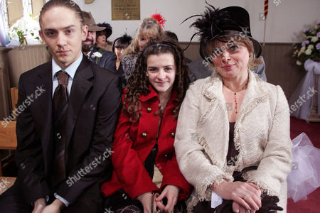 'Emmerdale'   TV   2006 Pictured: Everyone is ready for the double wedding but will it actually go ahead as planned. Josh Hope (Marc Silcock), Carly Hope (Rebecca Ryan) and  Barbara Hope (Julie Dawn Cole).
