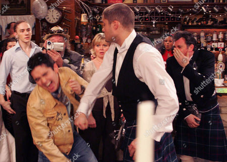 'Emmerdale'   TV   2006 Pictured: When Bob (Tony Audenshaw) has a go at Jean (Susan Penhaligon) about trying to ruin his wedding day, his son Jamie (Alex Carter) turns up and thumps him. He in return gets punched by Scott (Ben freeman)