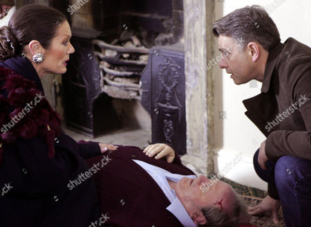 'Emmerdale'   TV   2006 Pictured: Steph Stokes (Lorraine Chase) and Adam Forsythe (Richard Shelton) find Turner (Richard Thorp) unconcious on the floor.