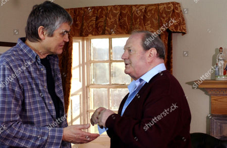 'Emmerdale'   TV   2006 Pictured: Turner (Richard Thorp) is horrified when Terrence Turner (Nick Brimble) tells him that Steph is telling the truth.When Turner tries to tear up the cheque he was going to give Terrence a fight ensues and he gets knocked unconcious.