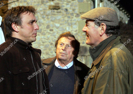 'Emmerdale'   TV   2006 Pictured: Matthew King (Matt Healy) and Jack Sugden (Clive Hornby) square up to each other over the problems with the development site. Tom King (Ken Farrington) want's to know whats going on.