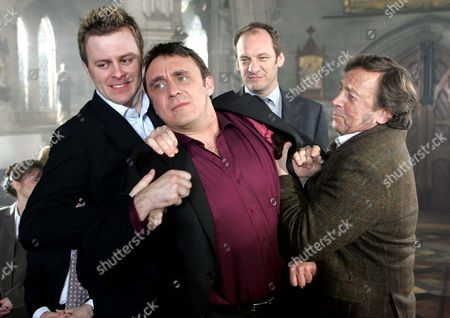 'Emmerdale'   TV   2006 Pictured: Matthew King (Dave Healy) Bursts in at the Last Minute Held Back by Carl King (Tom Lister) & Tom King (Ken Farrington). Jimmy King (Nick Miles) is Amused by the Whole Thing.