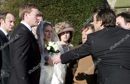 'Emmerdale'   TV   2006 Pictured: Alasdair Sinclair (Ray Coulthard) Has Enough of Matthew King (Matt Healy) Interrupting His Big Day with Sadie King (Patsy Kensit), Watched by Best Man Grayson Sinclair (Christopher Villiers) & Perdita Sinclair-Hyde (Georgia Slowe) & Rosemary Sinclair (Linda Thorson). Also Pictured Jimmy King (Nick Miles) and Tom King (Ken Farrington).