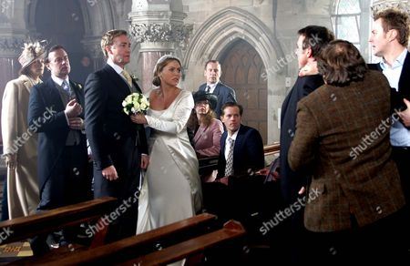 'Emmerdale'   TV   2006 Pictured: Does Matthew King (Matt Healy) Stop the Wedding of Sadie King (Patsy Kensit) to Alasdair Sinclair (Ray Coulthard)? Also Pictured Best Man Grayson Sinclair (Christopher Villiers), Rosemary Sinclair (Linda Thorson), Tom King (Ken Farrington) and Carl King (Tom Lister).