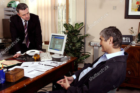 'Emmerdale'   TV   2006 Pictured: Terrence Turner (Nick Brimble) blackmails Adam Forsythe (Richard Shelton) after finding a newspaper article saying Adam was struck off. Adam's not sure what he can do.