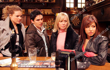 'Emmerdale'   TV   2006 Pictured: Jo Stiles (Roxanne Pallett) isn't impressed when Jean Hope (Susan Penhaligon) tells her she's no longer welcome at Dawn Wood's (Julia Mallam). Also pictured Jamie Hope (Alex Carter)
