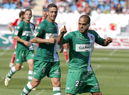Real Betis German Midfielder David Odonkor (r) and Team Mate Arturo Garc?a 'Arzu' (l) Celebrate After Odonkor Scored Against Almer?a During Their Primera Division Soccer Match Played at the Juegos Mediterrßneos Stadium in Almer?a on 04 May 2008 Spain Almeria