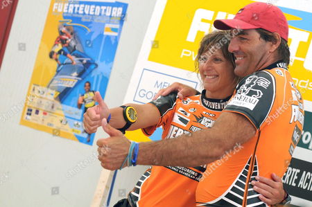 French Competitors Antoine Albeau and Valerie Ghibaudo After They Won the First Round of Fuerteventura Windsurfing and Kiteboarding World Cup 2008 in Sotavento Beach Jandia Southern Fuerteventura Canary Islands Spain 19 July 2008 Spain Fuerteventura