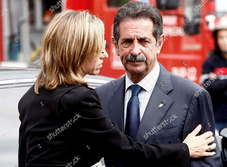 Spanish Defence Minister Carme Chacon (l) Expresses Her Condolences to Cantabria President Miguel Angel Revilla (r) During Her Visit to the Site of a Suspected Eta Attack in Santona Cantabria Spain 22 September 2008 Spanish Soldier Luis Conde De La Cruz 45 was Killed and Five Others Were Injured when a Suspected Eta Car Bomb Exploded Early 22 September Outside a Military Academy It is the Third Eta Attack with Car Bomb in 24 Hours After the Two Registered 21 September 2008 in Ondarroa (vizaya) and Vitoria Basque Country Spain Santona
