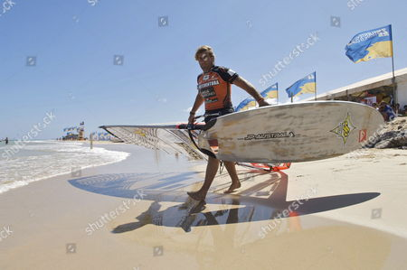 French Antoine Albeau is Seen Prior the Start of the Slalom Event As Part of Fuerteventura Grand Slam on Sotavento Beach in Fuerteventura Canary Islands Spain 28 July 2010 Spain Fuerteventura