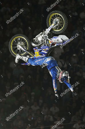 Australian Robbie Maddison Performs During the World Red Bull X-fighters 2009 Event at Bullring Las Ventas in Madrid Spain 17 July 2009 Spain Madrid