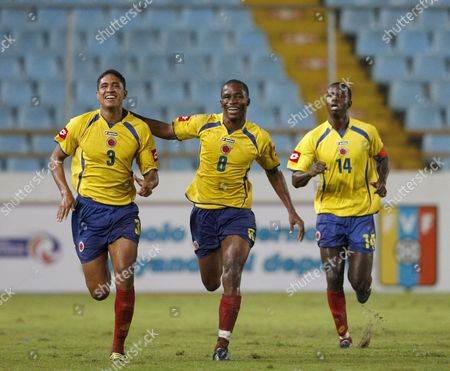 Clombian Under 20 Soccer National Team Player Dawhling Leudo (c) Celebrates with Teammates David Castro (l) and Marco Perez (r) After Scoring Against Uruguay During the Final Leg South American Under 20 Tournament Soccer Match Played at Monumental Stadium in Maturin Venezuela 02 February 2009 Venezuela Maturin