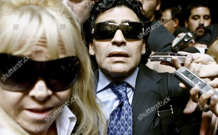 Former Argentinean Soccer Player Diego Maradona (c) and His Ex-wife Claudia Villafane (l) Leave a Court Building in Buenos Aires Argentina 23 April 2008 where He Attended a Conciliation Audience with Former Manager Guillermo Coppola Argentina Buenos Aires