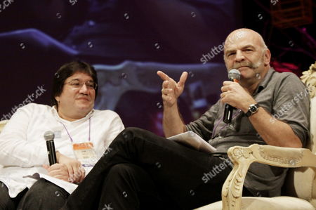 Stock Photo of Colombian Journalists Jaime Abello and Argentine Martin Caparros Take Part in a Tribute to Late Argentine Writer Tomas Eloy Martinez During the Last Day of the Hay Festival in Cartagena Colombia 30 January 2011 Colombia Cartagena