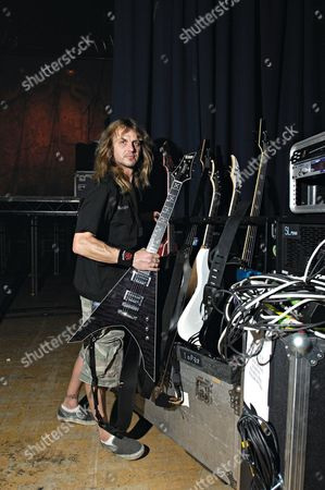 Stock Picture of Steve 'Bungie' Kovas, guitar technician for Swedish heavy metal band Arch Enemy on the road backstage at The Black Crusade Tour 2007.