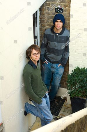 At home with Fightstar (l-r) Alex Westaway and Charlie Simpson outside Al's home in west London.