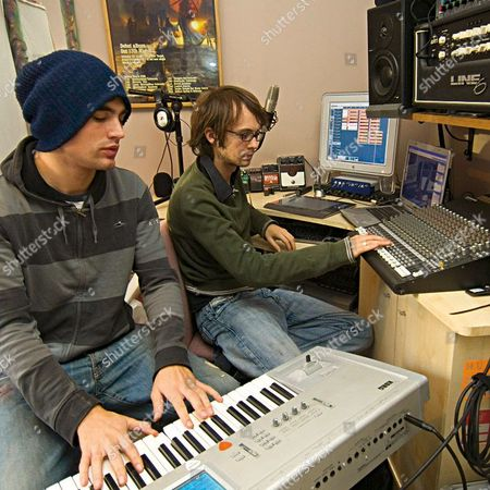 At Home with Fightstar, (l-r) frontman Charlie Simpson and Alex Westaway in Al's home recording studio.