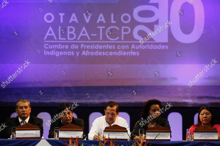 Ecuadorian Chancellor Ricardo Patino (3r) Participates in the Inauguration of the Summit of the Bolivarian Alliance For the People of the Americas (alba) in the City of Otavalo Ecuador 24 June 2010 with His Bolivian Counterpart David Choquehuanca (2l) and the Minister of People Social Movements and Civic Participation Alexandra Ocles (2r) and Minister of Popular Power For Indigenous People Nicia Maldonado (r) Ecuador Otavalo