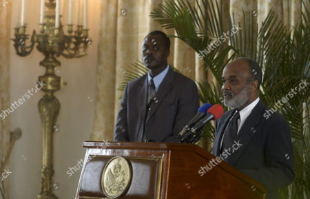 President of Haiti Rene Garcia Preval (r) Delivers a Speech at the National Palace in Port Au Prince 17 October 2007 During the Celebration of the Birth Anniversary of the National Hero Jean Jacques Dessaline who Fought For the Independence of the Country Against France Haiti Port Au Prince