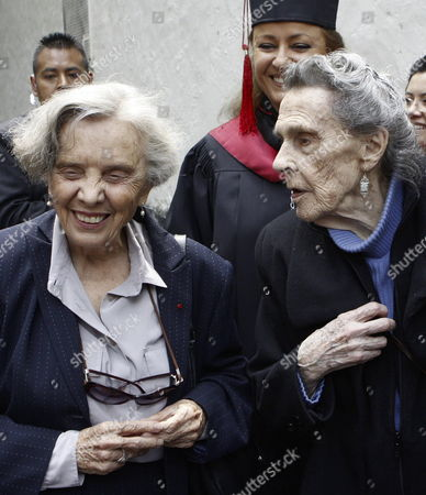 A Picture Dated 03 September 2009 Shows British Born Mexican Painter and Sculpter Leonora Carrington (r) Talking to Mexican Writer Elena Poniatowska (l) After Receiving the 'Sor Juana Ines De La Cruz' Medal of the Universidad Del Claustro De Sor Juana (ucsj) For Her Contribution to the Cultural Development in the Country in Mexico City Mexico 03 September 2009 Mexico Mexico City