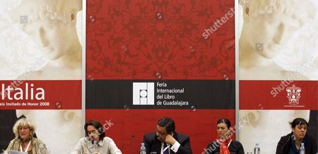 (l-r): Canadian Short-story Writer Monique Proulx Next to Her Colleagues Argentinean Pedro Mairal Mexican Jorge Hernandez Argentinean Samanta Schweblin and Spanish Lolita Bosch Participate at the International Meeting of Short-story Writers During the International Book Fair of Guadalajara (fil) Mexico 05 December 2008 Mexico Guadalaraja