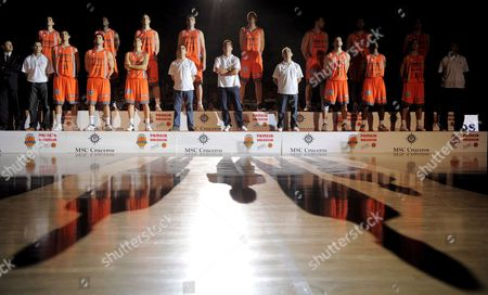 Spanish Basketball Team Pamesa Valencia's Presentation Prior to the Pamesa Valencia-mmt Estudiantes's Match at Fuente San Luis Sports Hall in Valencia Eastern Spain 25 September 2008 Kosta Perovic Rafa Martinez Florent Pietrus Dimos Dikoudis and Ermal Kuqo Are the New Signings of the Season Spain Valencia