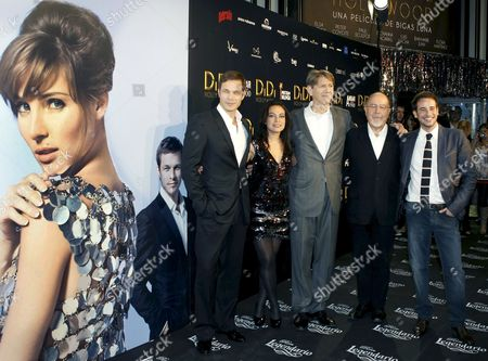 From L-r British Actor Paul Sculfor Mexican Actress Giovanna Zacarias Us Actor Peter Coyote Spanish Director Bigas Luna and Spanish Actor Luis Hacha Pose For Photos While Arriving to Bigas Luna Film 'Didi Hollywood' Premiere in Madrid 13 October 2010 Spain Madrid