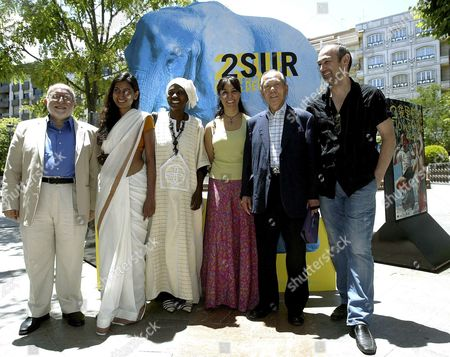 The Festival's Jury From Right Festival Director Jose Sanchez Montes; Korean Motion Picture Promotion Corporation and Seoul Ars Center Former President Kim Dong; Moroccan Producer Yasmine Kassari; Mali's Actress Fatoumata Coulibaly; British Actess Nimmi Harasgama and Uruguayan Film Critic Jorge Ruffinelli Pose in Downtown Granada Southern Spain on the Last Day of the 2nd Film Festival 'Cines Del Sur' ('southern Cinema') Late 07 June 2008 Film 'Jogo De Cena' by Brazilian Film-maker Eduardo Coutinho Won the Golden Alhambra Award For the Best Film Spain Granada