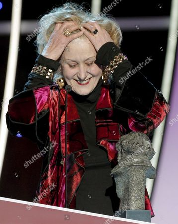 Italian Designer Gabriella Pescucci Reacts After Winning the Costumes Design Award For the Film 'Agora' During the 24th Edition of the Goya Cinema Awards Awarding Ceremony at Madrid's Conference Centre in Madrid Central Spain 14 February 2010 Spain Madrid