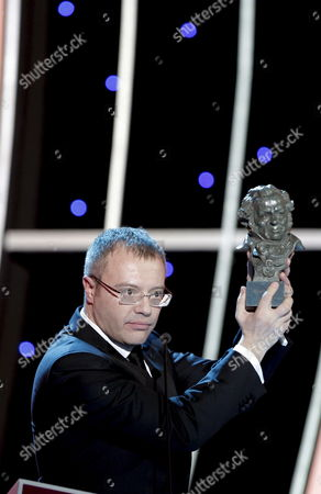 Spanish Director Daniel Monzon Reacts After Winning the Best Direction and Best Film Awards For His Film 'Celda 211' During the 24th Edition of the Goya Cinema Awards Awarding Ceremony at Madrid's Conference Centre in Madrid Central Spain 14 February 2010 Spain Madrid