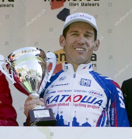 Australian Cyclist Robbie Mcewen of the Katusha Team Hold His Trophy on the Podium After Winning the Opening Stage of the Xix Cycling Challenge Mallorca 2010 Held at the Palma De Mallorca Urban Circuit in Palma De Mallorca Balearic Islands Spain on 07 February 2010 Spain Palma De Mallorca