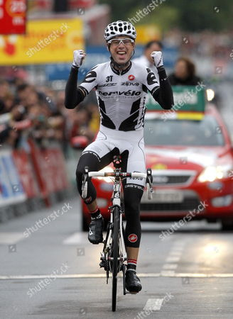 Irish Cyclist Philip Deignan of Cervelo Team Celebrates As He Wins the 18th Stage of Spanish Cycling Race Vuelta'09 From Talavera De La Reina to Avila Castilla Leon 165 Km 17 September 2009 Spain ?vila