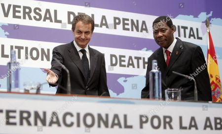 Stock Picture of Spanish Prime Minister Jose Luis Rodriguez Zapatero (l) and President of Benin Dr Thomas Yayi Boni Arrive at the Opening Ceremony of an International Symposium on the Abolition of the Death Penalty at the Reina Sofia Museum in Madrid Central Spain 09 December 2009 Spain Madrid