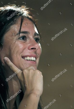 Stock Photo of Spanish Mountaineer Edurne Pasaban Lizarribar the First Woman to Climb All of the Fourteen 8 000 Meter Peaks in the World Smiles During the Lecture Entitled 'Sport and Coexistence' at the Casa Encendida Cultural Center in Madrid Spain 20 September 2010 Spain Madrid